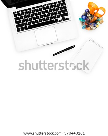 Workspace computer notebook and stationary isolated on white background