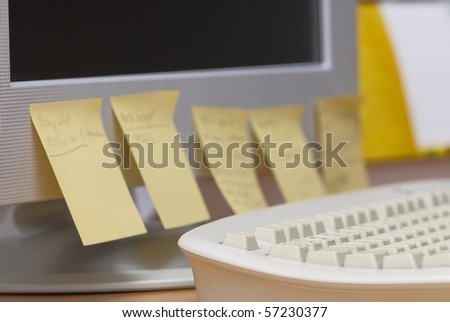 Workspace in the office with sticks - stock photo