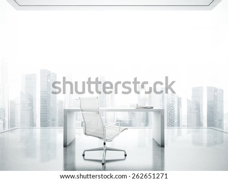 Workspace in the white office with big panoramic window - stock photo
