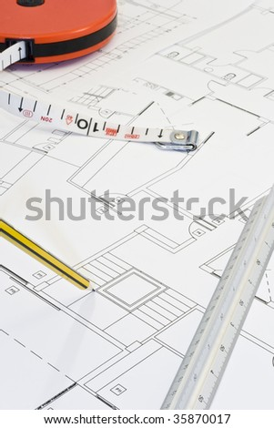 Workspace includes pencil and architect ruler. - stock photo