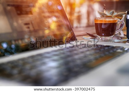 workspace with modern laptop. - stock photo