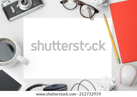 Workspace with paper - stock photo