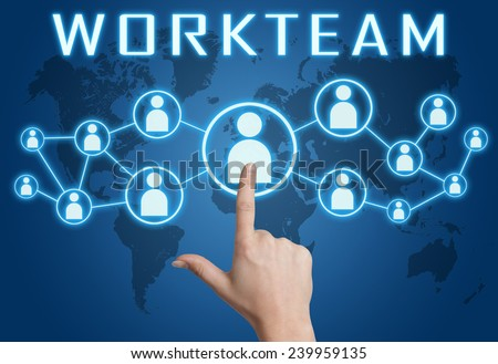 Workteam concept with hand pressing social icons on blue world map background. - stock photo