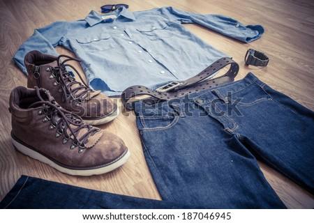 Workwear stylish clothes for men - stock photo