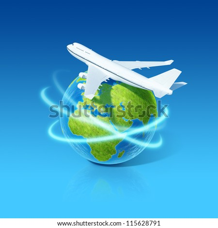 World airlines concept. Airplane flying over earth globe. Little tiny planets collection. - stock photo