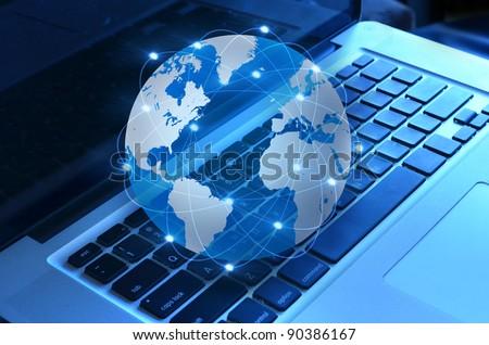 World and computer - stock photo
