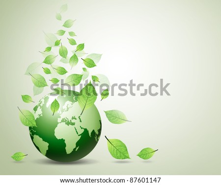 world and green leaves - stock photo