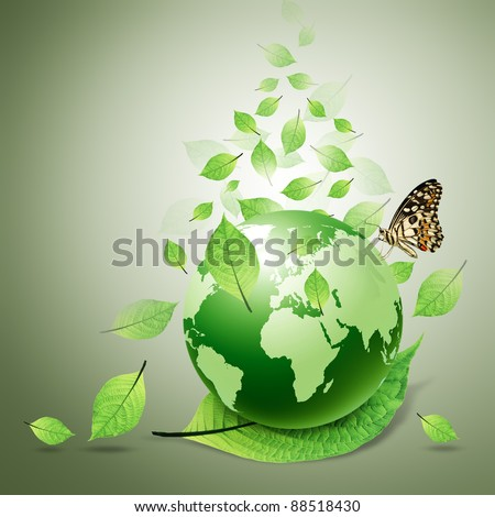 world and green leaves, butterfly - stock photo