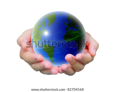 world and women hand on white background - stock photo