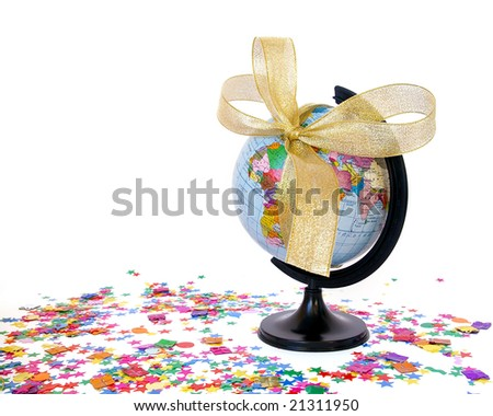 World as a gift concept. White background - stock photo