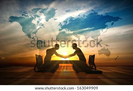 World Asian Businessmen handshake in meeting room rendered by computer graphic 3d. - stock photo