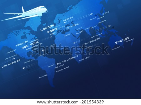 World aviation directions all over the business cities - stock photo