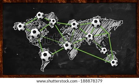 World ball Connection on Blackboard - stock photo