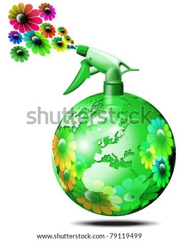 World bio flower spry - stock photo