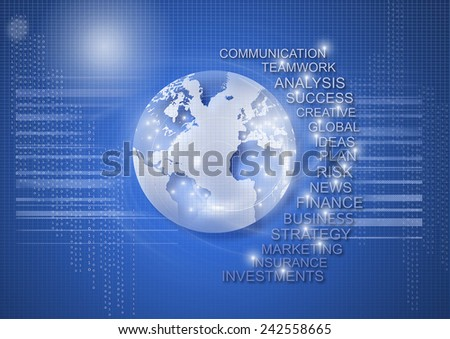 World business, communication and technology futuristic background. - stock photo