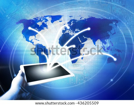 World Business Connection Concept in Blue - stock photo