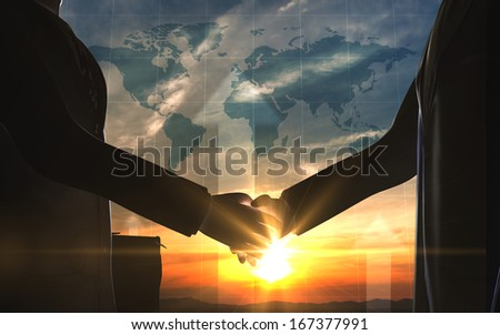 World business shake hand silhouettes rendered with computer graphic 3d - stock photo