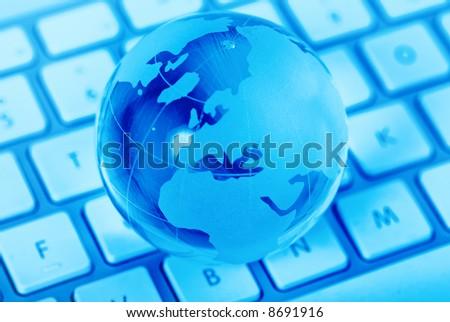 World communication via internet - stock photo