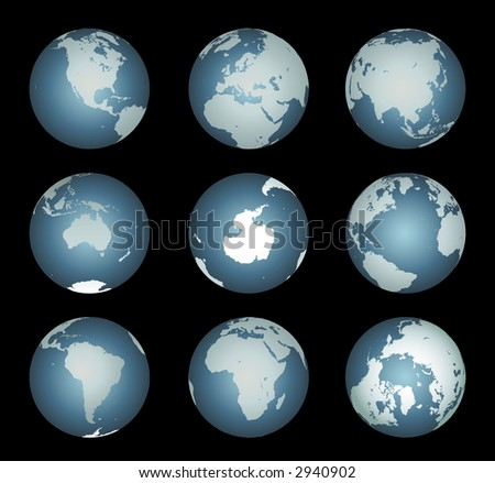 World Continents Accurate map onto a globe. Antarctica, Arctic, Atlantic. island chains, lakes, etc - stock photo