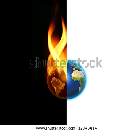 World contrast between Good and Evil - yin yang - Peace or War on black and white background - stock photo