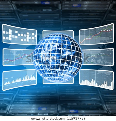 World control and monitor report the sytem in server room : Elements of this image furnished by NASA - stock photo