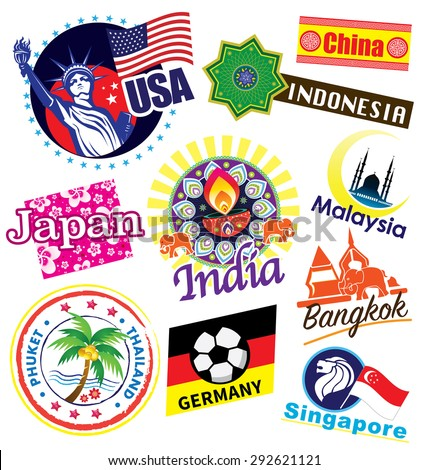 World country travel landmark icon set - stock photo