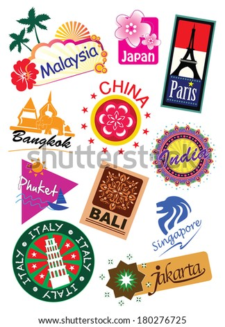 World country travel landmark icon sticker set - stock photo