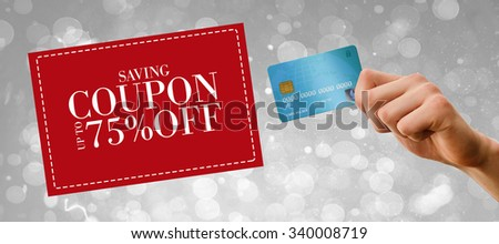 World credit card against sale advertisement - stock photo