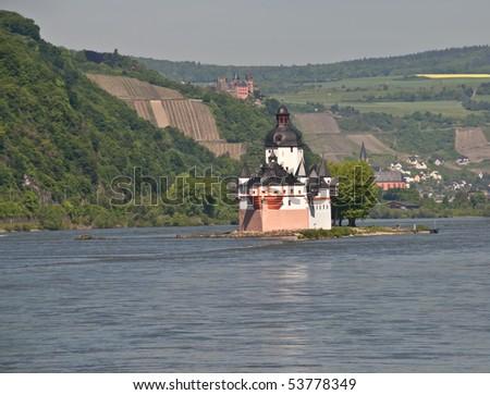World culture heritage Pfalzgrafenstein in rhine valley ( Kaub castle ) - stock photo