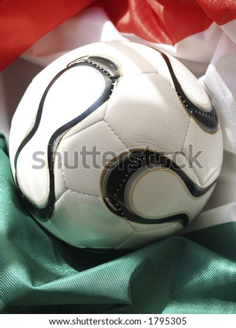 World Cup ball on Italy's flag