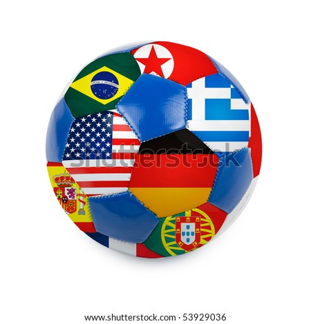 World cup football with nations flags isolated on a white - stock photo