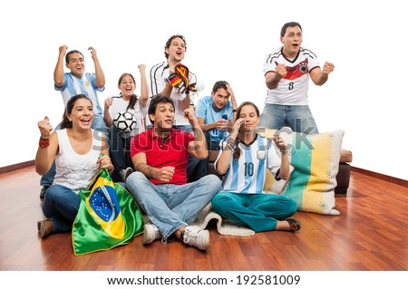 World Cup: Group of friends celebrating soccer match - stock photo