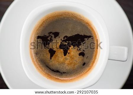 World cup of coffee closeup shot from above - stock photo