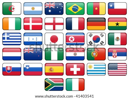 World Cup 2010 rectangular buttons.  Flags from all 32 participating countries. - stock photo