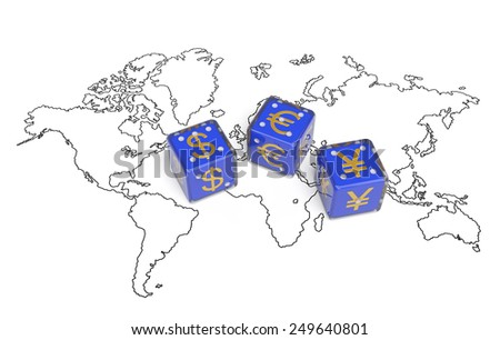 World currency finance economy concept. Competition between dollar, euro, yuan for hegemony and advantages in world economy, trade, banking system and control for financial flows and global markets - stock photo