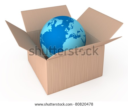 World delivery container 3d concept isolated on white