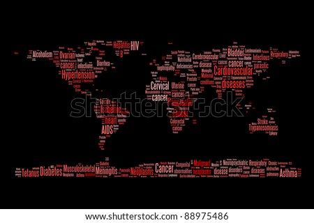 World diseases and sickness info-text graphics and arrangement word clouds planet earth concept