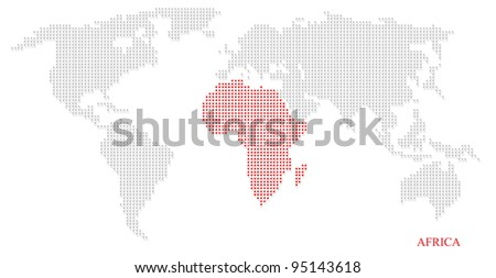 World dotted map highlight with red on Africa continent - stock photo