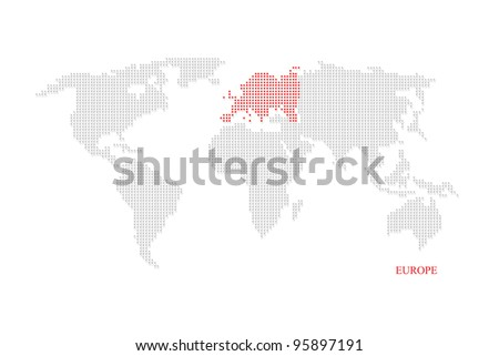 World dotted map highlight with red on Europe continent - stock photo