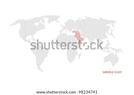 World dotted map highlight with red on Middle east. - stock photo