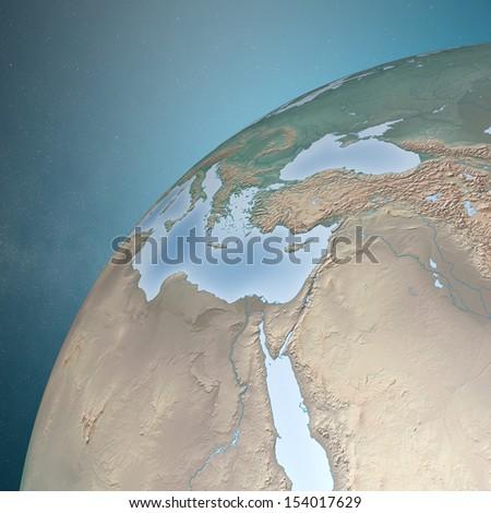 World earth globe Middle East - stock photo