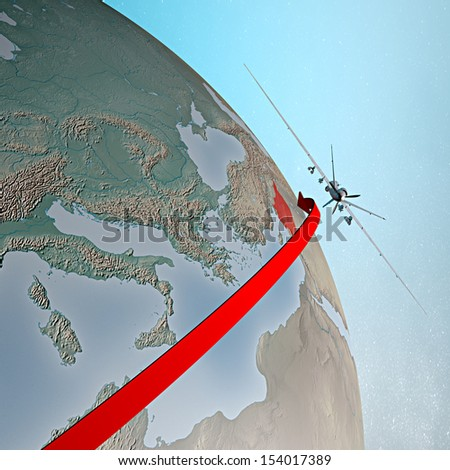 World earth globe Middle East Syria drone aircraft - stock photo