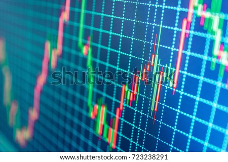 World economics graph. Conceptual view of the foreign exchange market. Stock market chart, graph on blue background. Stock market graph on the screen. Stock exchange graph.