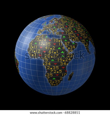 World economies with stock market tickers sliding on globe centered on Africa