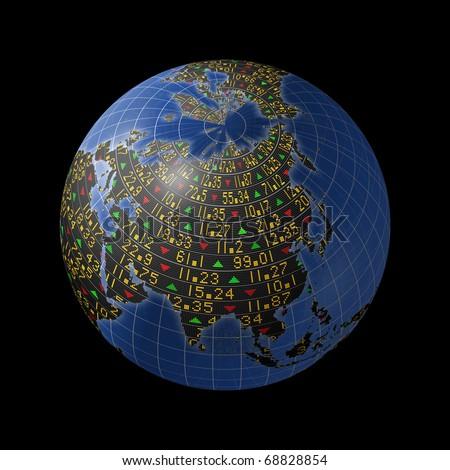 World economies with stock market tickers sliding on globe centered on Asia - stock photo