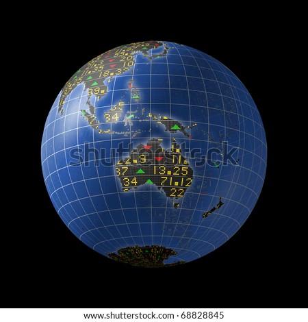 World economies with stock market tickers sliding on globe centered on Australia - stock photo