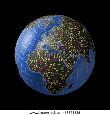 World economies with stock market tickers sliding on globe centered on Europe - stock photo