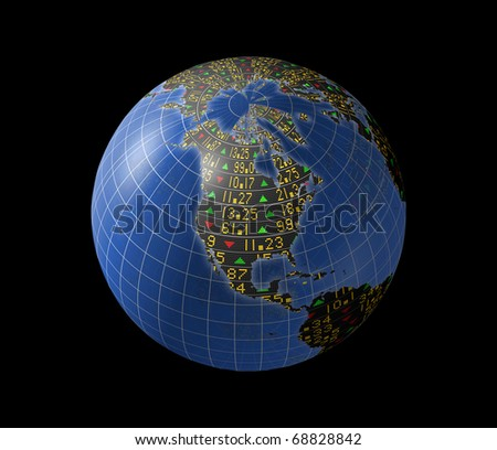 World economies with stock market tickers sliding on globe centered on North America