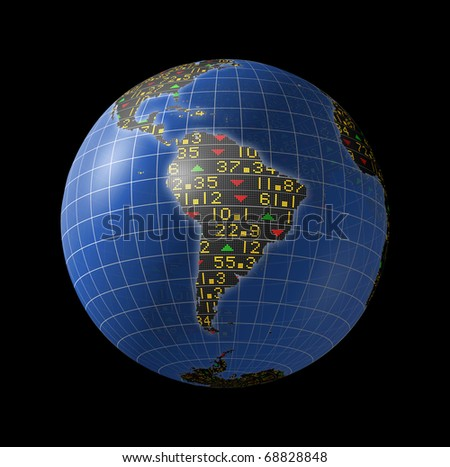 World economies with stock market tickers sliding on globe centered on South America - stock photo