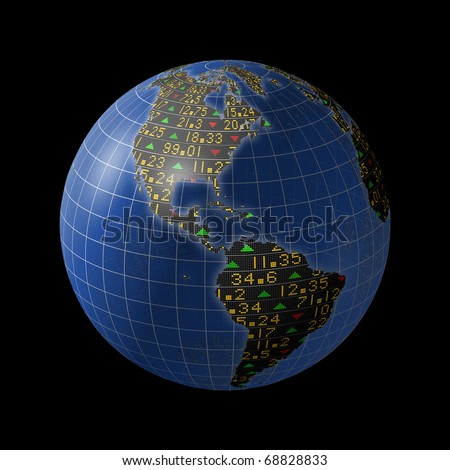World economies with stock market tickers sliding on globe centered on the Americas - stock photo